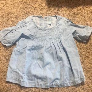 Short sleeve chambray blouse